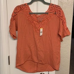 Top with lace/crochet back and sleeves